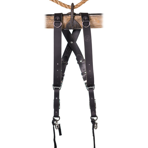 HoldFast Gear Money Maker 2-Camera Leather Harness (Black, Silver Hardware, Medium)