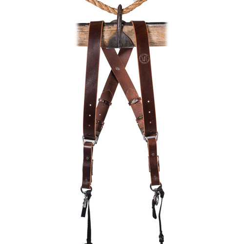 HoldFast Gear Money Maker 2-Camera Leather Harness No D-Rings (Burgundy, Silver Hardware, Medium)