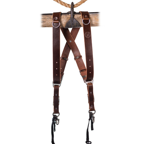 HoldFast Gear Money Maker 2-Camera Leather Harness (Burgundy, Silver Hardware, Small)