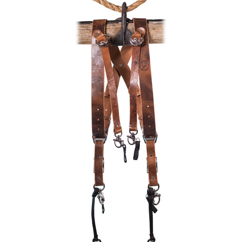 HoldFast Gear Money Maker 3-Camera Leather Harness (Tan, Silver Hardware, Medium)