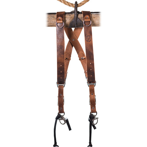 HoldFast Gear Money Maker 2-Camera Leather Harness (Tan, Black Hardware, Large)