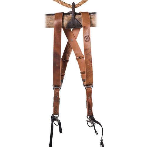 HoldFast Gear Money Maker 2-Camera Leather Harness No D-Rings (Tan, Silver Hardware, Large)