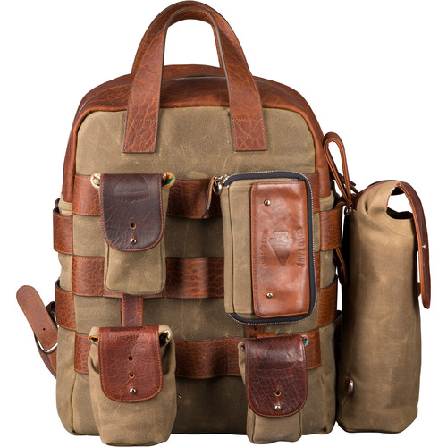 HoldFast Gear Sightseer Backpack System (Olive with Leather Trim)
