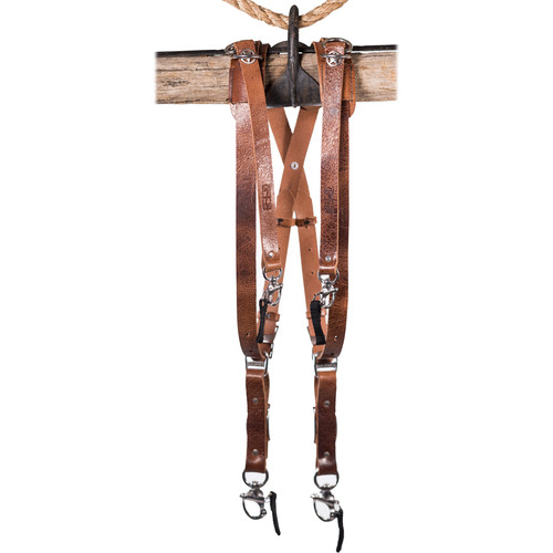 HoldFast Gear Money Maker Water Buffalo Skinny 3 Camera Harness (Tan, Small)