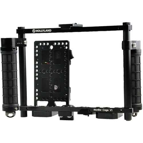 """Hollyland Monitor Cage with Rubber Handgrips for 5 to 9"""" Monitors (V-Mount)"""