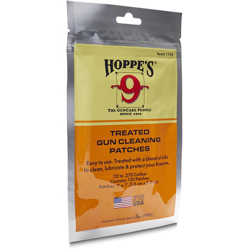 Hoppes Treated Gun Cleaning Patches (.22-.270 Caliber, 120 Count)