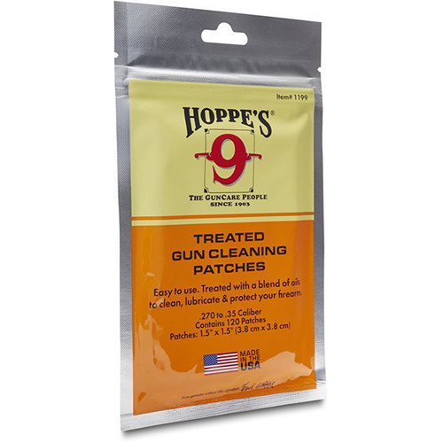 Hoppes Treated Gun Cleaning Patches (.270-.50 Caliber, 120 Pieces)