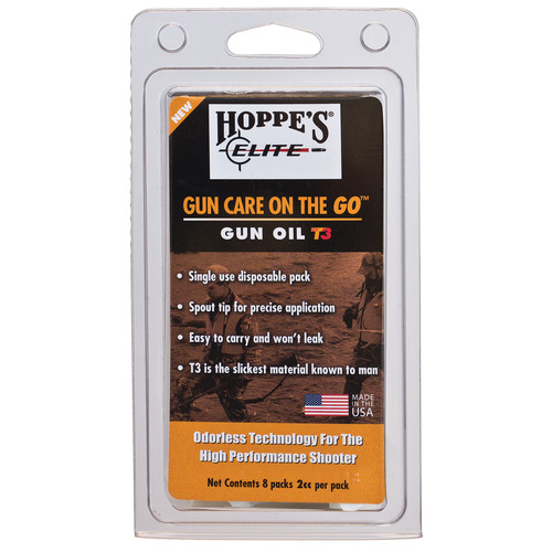 Hoppes Elite Gun Oil with T3 Pillow Pack (Clamshell Packaging)