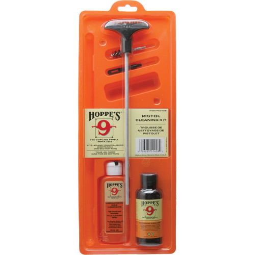 Hoppes Pistol Cleaning Kit with Aluminum Rod for .40 and 10mm (Clamshell Packaging)