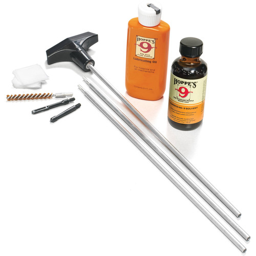 Hoppes Rifle Cleaning Kit with Aluminum Rod for .22, .222, .223, .224, .225, .243, .25, .25-06, and .257 (Box)