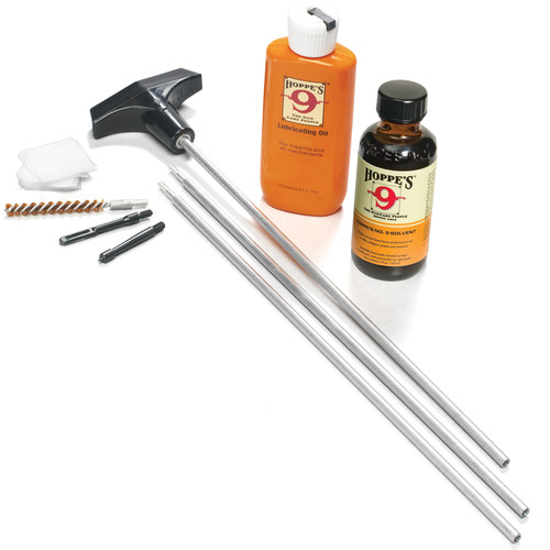 Hoppes Rifle Cleaning Kit with Aluminum Rod for .22, .222, .223, .224, .225, .243, .25, .25-06, and .257 (Clamshell Packaging)