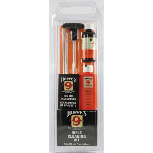 Hoppes Rifle Cleaning Kit with Aluminum Rod for .270, 7mm, and .280 (Clamshell Packaging)