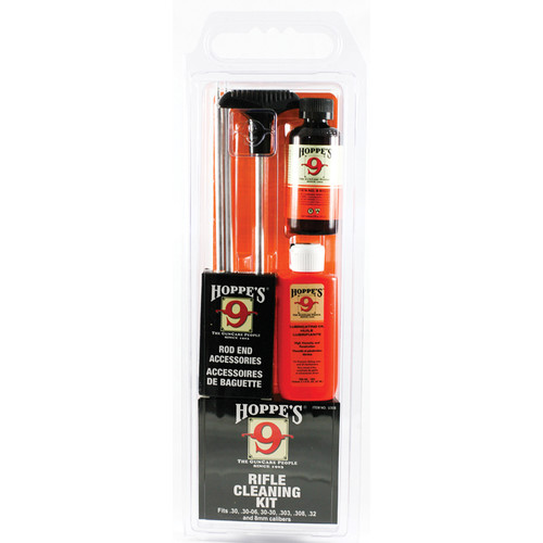 Hoppes Rifle Cleaning Kit with Aluminum Rod for .30, 30-06, 30-30, .303, .308, .32, and 8mm (Clamshell Packaging)