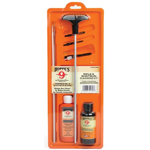 Hoppes Rifle & Shotgun Cleaning Kit with Aluminum Rod (Box)