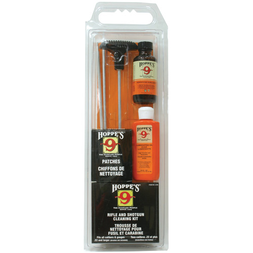 Hoppes Rifle & Shotgun Cleaning Kit with Aluminum Rod (Clamshell Packaging)