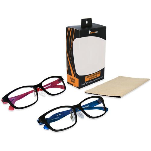 HornetTek HT-GLB-71087108 Gaming Glasses with Blue Light Protection (2-Pack,Black & Blue, Black & Red)