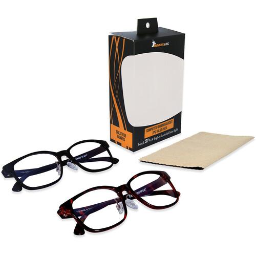 HornetTek HT-GL-B7109 Gaming Glasses with Blue Light Protection (2-Pack,Black & Leopard)