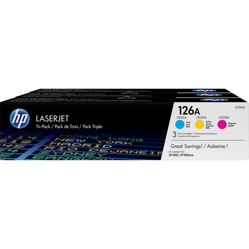HP 126A 3-Pack Cyan/Magenta/Yellow LaserJet Toner Cartridges