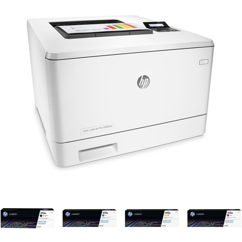 HP Color LaserJet Pro M452nw Printer with Extra 410A Toner Set Kit