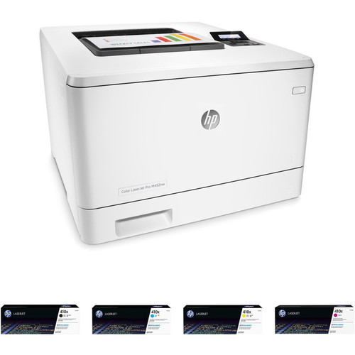 HP Color LaserJet Pro M452nw Printer with Extra 410X Toner Set Kit