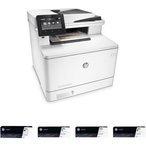 HP Color LaserJet Pro M477fdn All-in-One Printer with Extra 410A Toner Set Kit