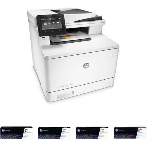HP Color LaserJet Pro M477fdn All-in-One Printer with Extra 410X Toner Set Kit