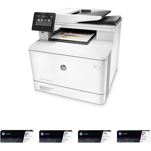 HP Color LaserJet Pro M477fdw All-in-One Printer with Extra 410X Toner Set Kit