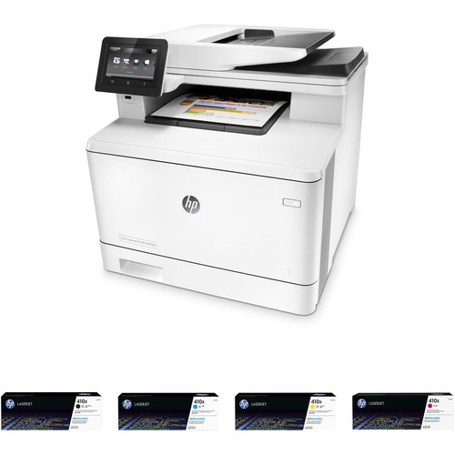 HP Color LaserJet Pro M477fnw All-in-One Printer with Extra 410X Toner Set Kit