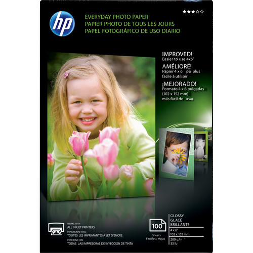 """HP Everyday Glossy Photo Paper (4.0 x 6.0"""", 100 Sheets)"""