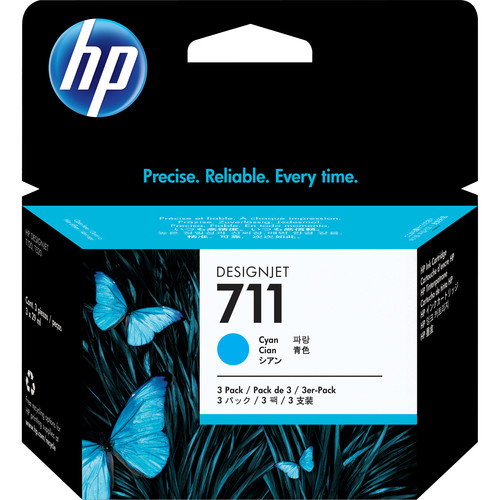 HP 711 Cyan Ink Cartridge (29mL, 3-Pack)