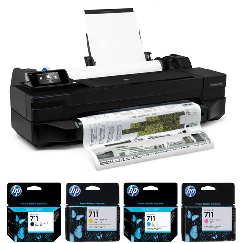 """HP DesignJet T120 24"""" Printer with One Black and Three Color Inks Kit"""