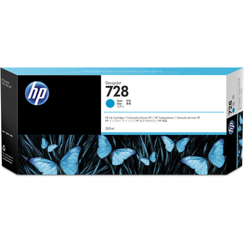 HP 728 Cyan DesignJet Ink Cartridge (300ml)