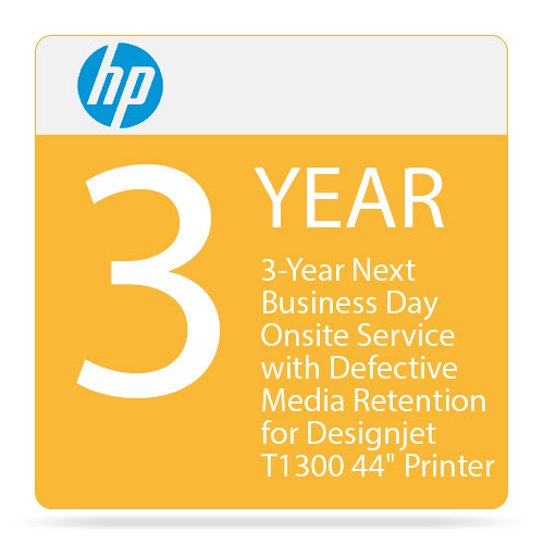 "HP 3-Year Next Business Day Onsite Service with Defective Media Retention for Designjet T1300 44"" Printer"