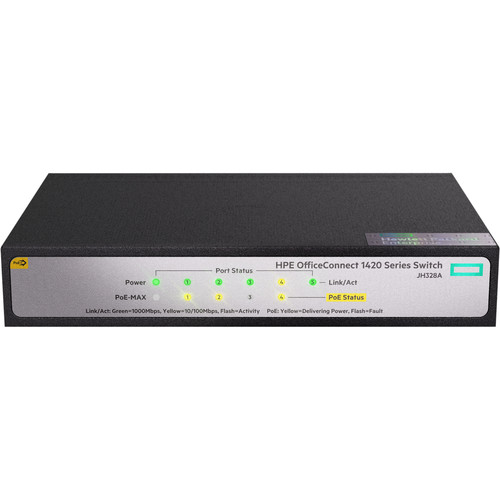 HP OfficeConnect 1420 5-Port Gigabit PoE+ 32W Unmanaged Switch