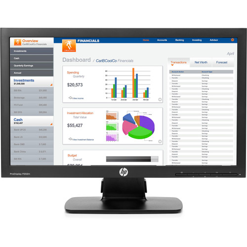 "HP P202m 20"" Widescreen LED Backlit ProDisplay Monitor (Integrated Speakers, Smart Buy)"