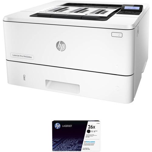 HP LaserJet Pro M402dne Monochrome Printer with Extra 26X Black Toner Kit