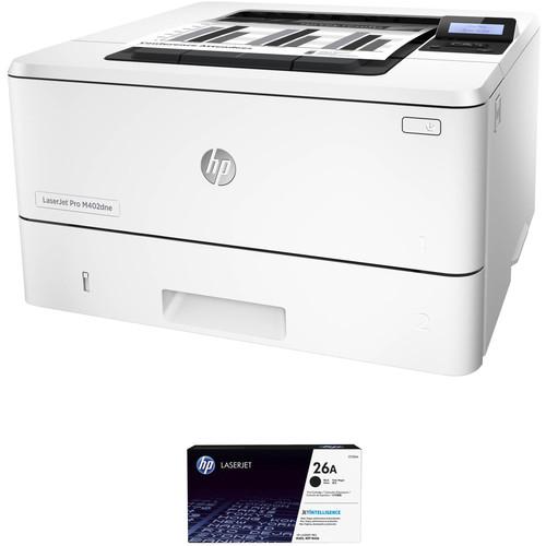 HP LaserJet Pro M402dne Monochrome Printer with Extra 26A Black Toner Kit