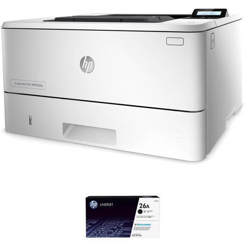 HP LaserJet Pro M402dw Monochrome Printer with Extra 26A Black Toner Kit