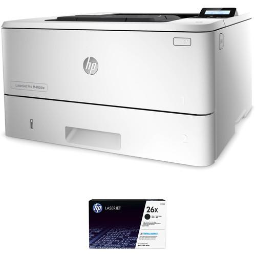 HP LaserJet Pro M402dw Monochrome Printer with Extra 26X Black Toner Kit
