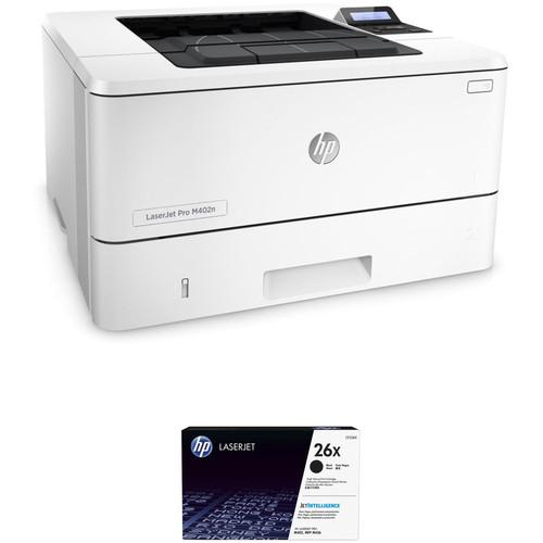 HP LaserJet Pro M402n Monochrome Printer with Extra 26X Black Toner Kit