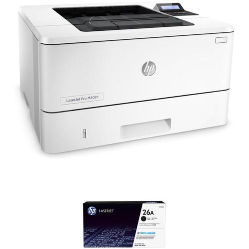 HP LaserJet Pro M402n Monochrome Printer with Extra 26A Black Toner Kit