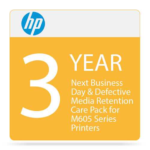 HP 3-Year Next Business Day & Defective Media Retention Care Pack for M605 Series Printers