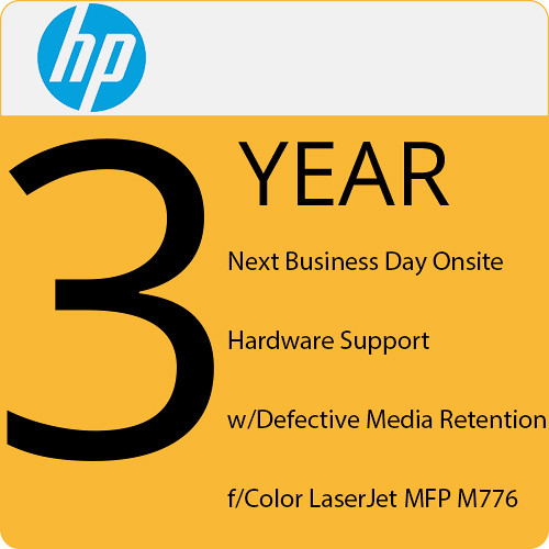 HP 3-Year Next Business Day Onsite Service with Defective Media Retention for Color LaserJet MFP M776 Printers