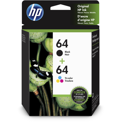 HP 64 Black & Tri-Color Ink Cartridge Pack