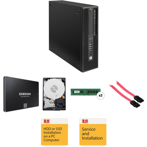 HP Z240 Series Small Form Factor Turnkey Workstation with 16GB RAM, 250GB SSD, and 3TB HDD