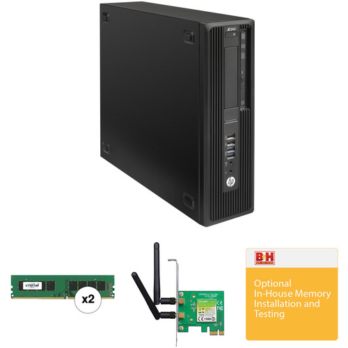 HP Z240 Series Small Form Factor Turnkey Workstation with 32GB RAM and Wireless N PCIe Adapter
