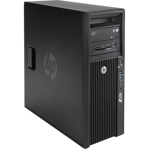 HP Z420 Series F1M14UT Turnkey Workstation with 32GB RAM, 500GB SSD, 3TB HDD, Blu-ray Drive, Media Card Reader, and HDD/SSD Bay Converter