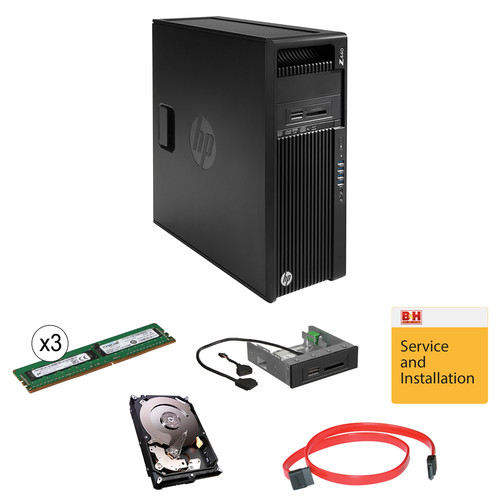 "HP Z440 F1M53UT Minitower Workstation Kit with Additional 24GB of RAM, 4TB Hard Drive,15-in-1 Media Card Reader, 18"" SATA Cable, & Installation Service"