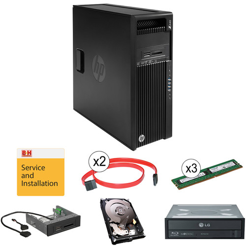"HP Z440 F1M53UT Minitower Workstation Kit with Additional 24GB of RAM, 4TB Hard Drive, Blu-ray Burner, 15-in-1 Media Card Reader, Two 18"" SATA Cables, & Installation Service"