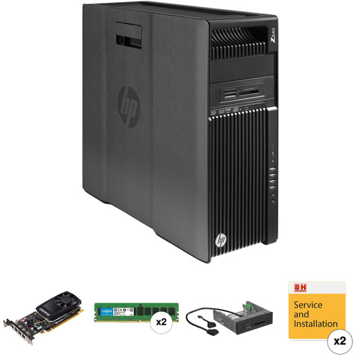 HP Z640 Series Turnkey Workstation with 32GB RAM, Quadro K1200, and 15-in-1 Media Card Reader